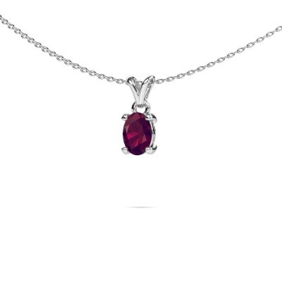 Ketting Lucy 1 585 witgoud rhodoliet 7x5 mm