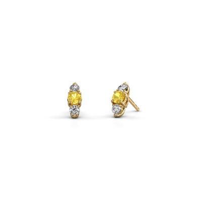 Oorbellen Amie 375 goud gele saffier 4 mm