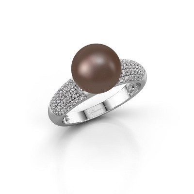 Foto van Ring Anisa 925 zilver bruine parel 9 mm