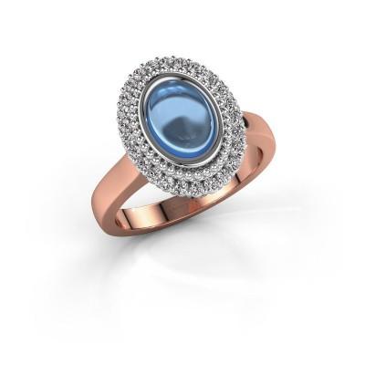 Ring Maartje 585 rosé goud blauw topaas 8x6 mm