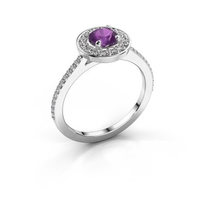 Ring Agaat 2 585 white gold amethyst 5 mm
