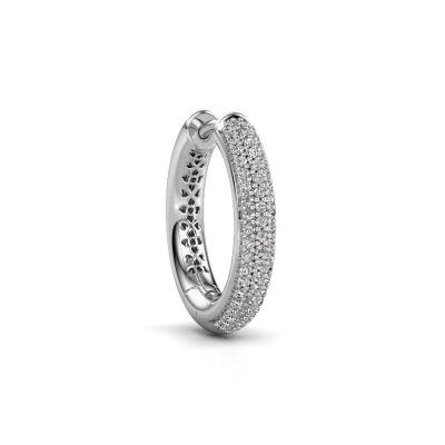 Photo de Boucle d'oreille homme Owen 19mm 585 or blanc diamant 0.29 crt