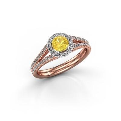 Verlovingsring Verla 2 585 rosé goud gele saffier 4.7 mm