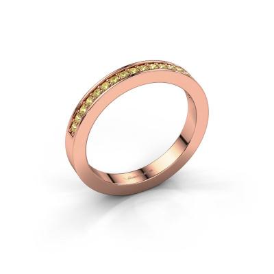 Aanschuifring Loes 4 585 rosé goud gele saffier 1.3 mm