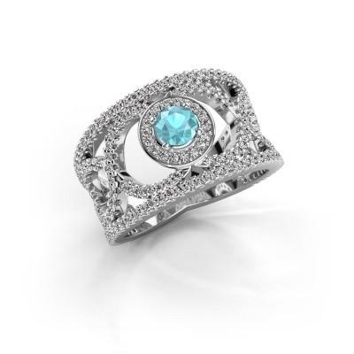 Foto van Ring Regina 585 witgoud blauw topaas 4.2 mm