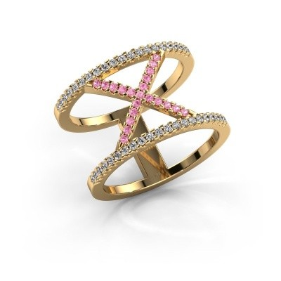 Ring Sharri 2 375 Gold Pink Saphir 1.1 mm