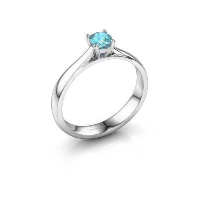 Engagement ring Sam 585 white gold blue topaz 4.2 mm
