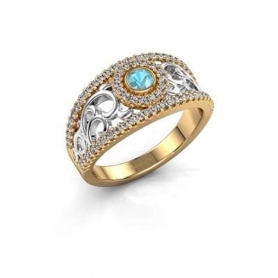 Verlovingsring Lavona 585 goud blauw topaas 3.4 mm