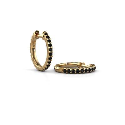Foto van Creolen Jackie 12.5 mm A 375 goud zwarte diamant 0.756 crt