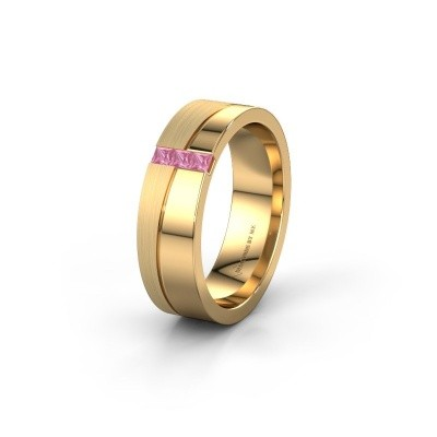 Wedding ring WH0906L16A 585 gold pink sapphire ±6x1.7 mm