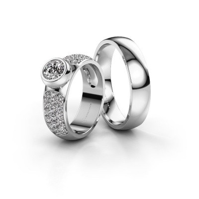 Eheringe set WHR0751LM25AP ±5x2 mm 14 Karat Weißgold Diamant 0.50 crt