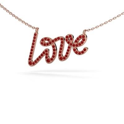 Hanger Love 375 rosé goud robijn 1 mm