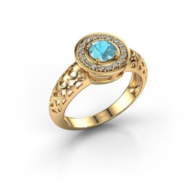 Foto van Ring Katalina 585 goud blauw topaas 5 mm