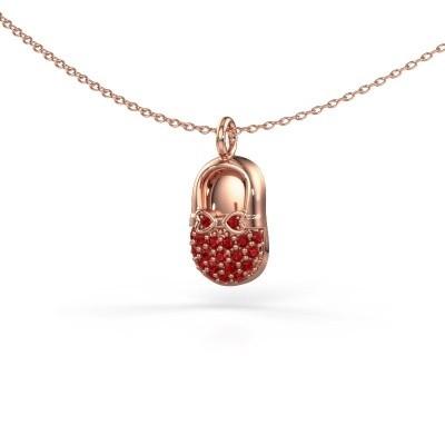 Hanger Babyshoe 375 rosé goud robijn 1.3 mm
