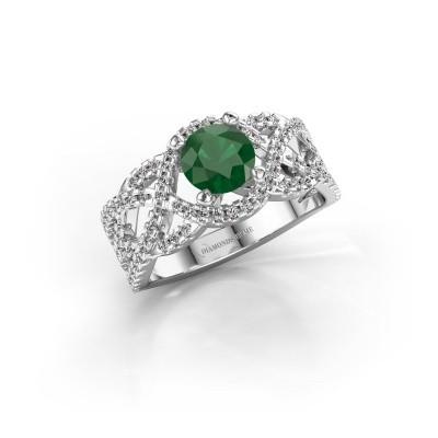 Verlovingsring Jeni 585 witgoud smaragd 6.5 mm