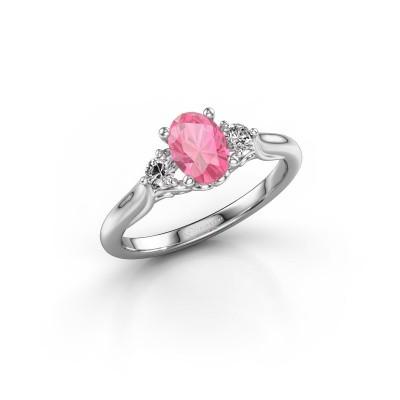 Foto van Verlovingsring Laurian OVL 585 witgoud roze saffier 7x5 mm
