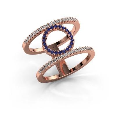 Ring Latoria 2 375 rosé goud saffier 1.1 mm