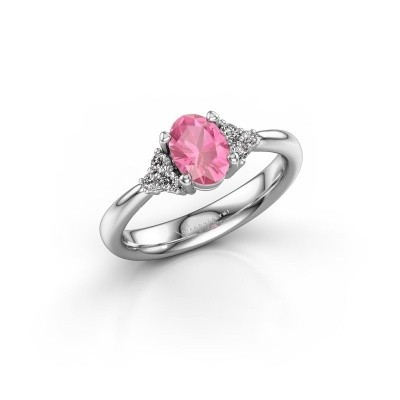 Picture of Engagement ring Aleida OVL 1 950 platinum pink sapphire 7x5 mm
