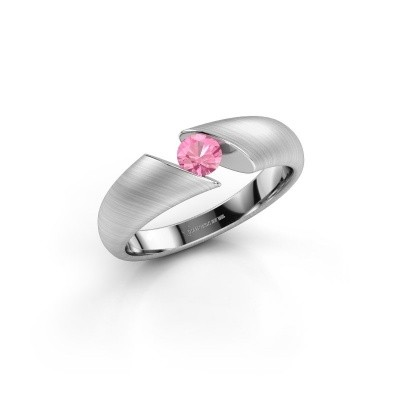 Foto van Verlovingsring Hojalien 1 950 platina roze saffier 4 mm