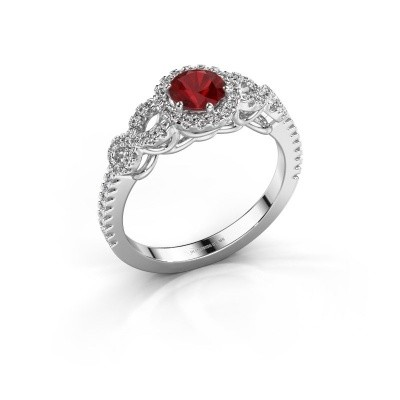 Engagement ring Sasja 585 white gold ruby 5 mm