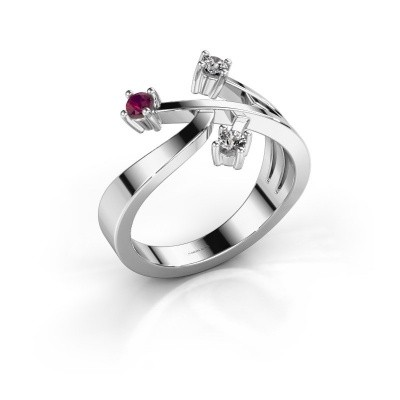 Ring Lillian 585 witgoud rhodoliet 2.5 mm