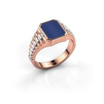Foto van Rolex stijl ring Brent 1 585 rosé goud lapis lazuli 10x8 mm