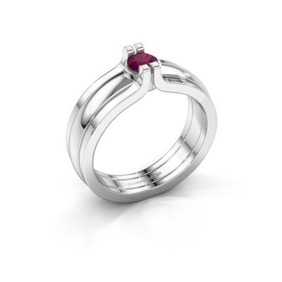 Picture of Ring Jade 925 silver rhodolite 4 mm