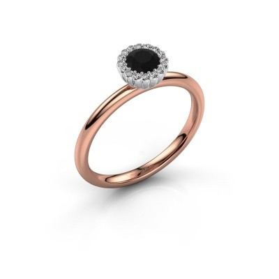 Engagement ring Queen 585 rose gold black diamond 0.44 crt