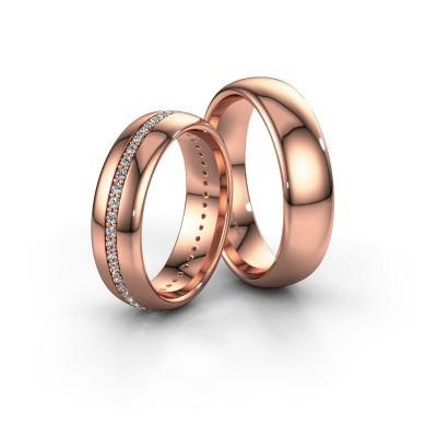 Foto van Trouwringen set WH0103LM36BP ±6x2 mm 14 karaat rosé goud diamant 0.44 crt