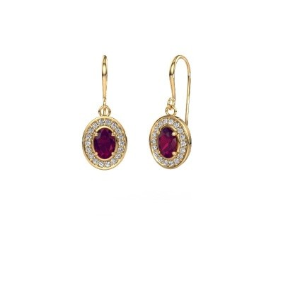 Drop earrings Layne 1 375 gold rhodolite 6.5x4.5 mm