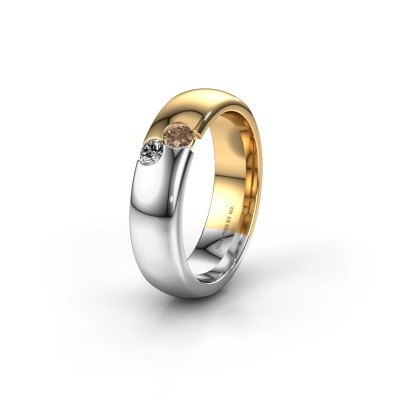 Wedding ring WH1003L26C 585 gold brown diamond ±0.24x0.09in