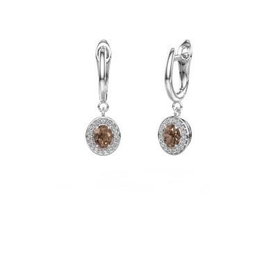 Oorhangers Nakita 585 witgoud bruine diamant 0.880 crt