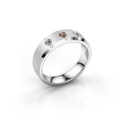 Foto van Heren ring Remco 950 platina bruine diamant 0.24 crt