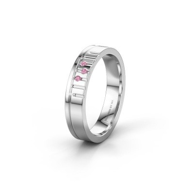 Friendship ring WH0332L14X 950 platinum pink sapphire ±0.16x0.06 in