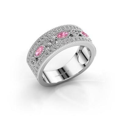 Ring Henna 585 witgoud roze saffier 4x2 mm