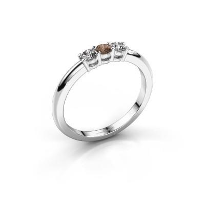 Foto van Verlovingsring Michelle 3 950 platina bruine diamant 0.30 crt