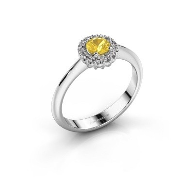 Picture of Engagement ring Anca 585 white gold yellow sapphire 4.2 mm