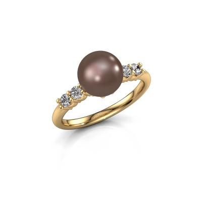 Foto van Ring Cecile 375 goud bruine parel 8 mm