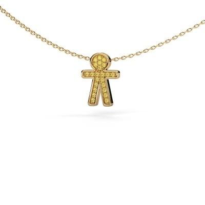 Hanger Boy 375 goud gele saffier 1 mm