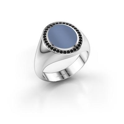 Foto van Zegelring Adam 2 925 zilver licht blauwe lagensteen 12x10 mm