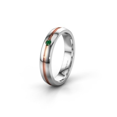 Wedding ring WH0424L24A 585 white gold emerald ±4x1.7 mm