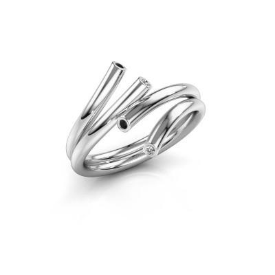 Foto van Ring Siewke 925 zilver zwarte diamant 0.053 crt