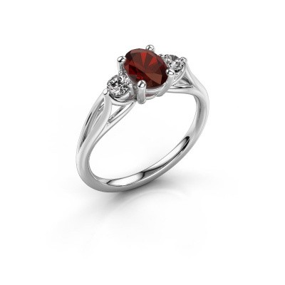 Picture of Engagement ring Amie OVL 925 silver garnet 7x5 mm