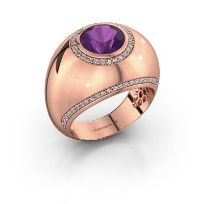 Picture of Ring Roxann 375 rose gold amethyst 8 mm