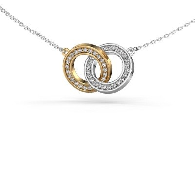 Halsketting Circles 2 585 goud zirkonia 1 mm