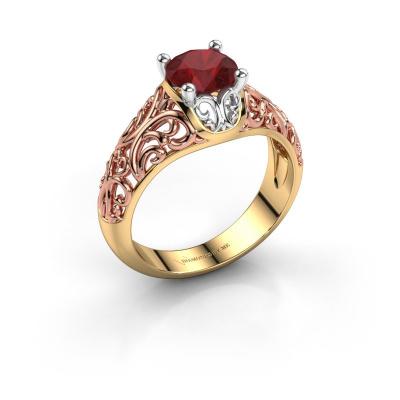Ring Mirte 585 goud robijn 6.5 mm