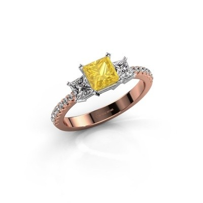 Engagement ring Dorla 585 rose gold yellow sapphire 5 mm