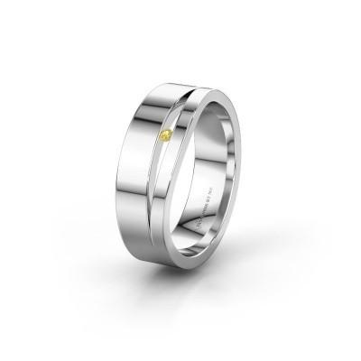 Wedding ring WH6000L16AP 585 white gold yellow sapphire ±6x1.7 mm