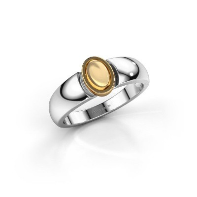 Ring Tonneke 585 witgoud citrien 6x4 mm