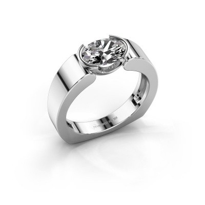 Ring Tonya 585 witgoud zirkonia 8x6 mm